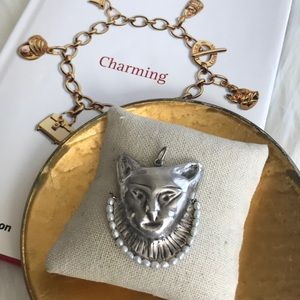 cat pendant sterling silver freshwater pearls